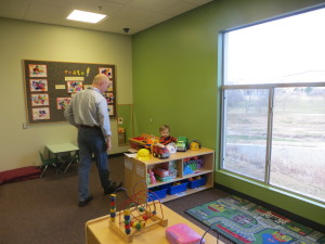 Checking out his new classroom...with Dad.